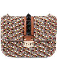 Valentino Medium Lock Embellished Leather Bag - Lyst