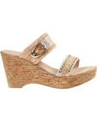 Onex For Jildor Bettina Wedge Sandal Natural Fabric - Lyst