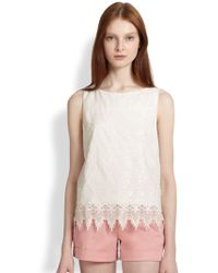 Alice + Olivia Anya Silk Lace-Trimmed Embroidered Top - Lyst