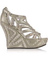 Camilla Skovgaard Metallic Studded Leather Wedge Sandals - Lyst
