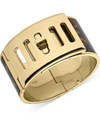 Michael Kors Gold-tone Tortoise Turnlock Bracelet - Lyst