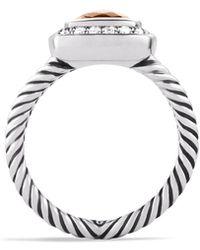 David Yurman Petite Albion Ring With Morganite & Diamonds - Metallic