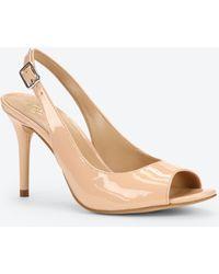 Ann Taylor Clio Patent Leather Peeptoe Heels beige - Lyst
