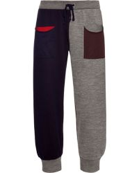 Pleats Please Issey Miyake Colour-block Cropped Track Pants - Blue