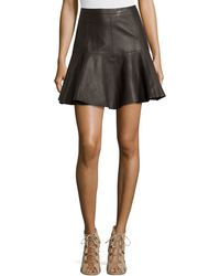 Halston Heritage Flared Leather Skirt - Lyst