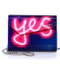 Jimmy Choo Candy Neon Light Yes/No Acrylic Clutch blue - Lyst