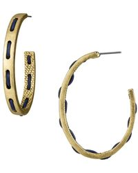 Sam Edelman Metal and Stitched J-hoop Earrings - Lyst