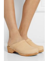 Funkis Beige Leather Clogs - Lyst