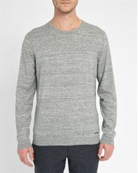 Calvin Klein | Mottled-grey Logo Cotton/wool Sweater | Lyst