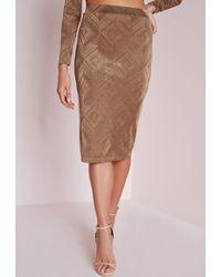 Missguided Diamond Midi Skirt Camel - Brown