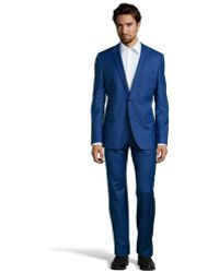 Hugo Boss Bright Blue Super 110 Wool 2-Button 'Huge 3 / Genius 2' Suit With Flat Front Pants - Lyst