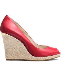 Michael Kors Keegan Patent-Leather Peep-Toe Wedge red - Lyst