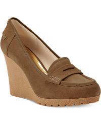 Michael Kors Michael Rory Loafer Wedge Pumps - Brown