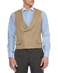 Favourbrook Beige Wool-Gabardine Shawl-Collar Waistcoat - Natural