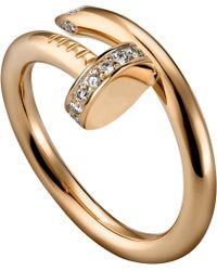 Cartier Juste Un Clou 18Ct Pink-Gold And Diamond Ring - Lyst