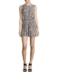 Halston Heritage Sleeveless Faux-wrap Short Jumpsuit - Lyst