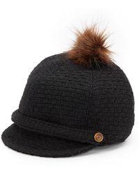 Saks Fifth Avenue Black Label Faux Fur Pom-pom Cap - Lyst