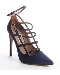 Tabitha Simmons Navy and Black Satin Multi Strap Josephina Pumps - Lyst