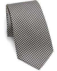 Ralph Lauren Purple Label Houndstooth Pattern Silk Tie - Black