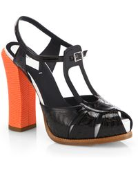 Fendi Chameleon Bicolor Engraved Patent Leather Peep-Toe Sandals - Lyst