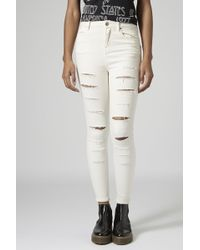 Topshop Moto Super Ripped Winter White Jamie Jeans - Lyst
