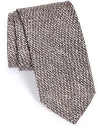 Maker & Company Solid Cotton & Silk Tie - Gray