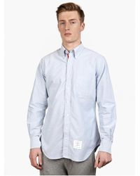 Thom Browne Men'S Blue Cotton Oxford Shirt - Lyst