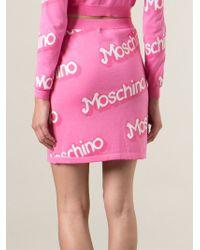 Moschino - Logo Intarsia Skirt - Lyst