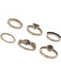 Topshop Rhinestone Engraved Ring Pack - Lyst