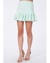 Missguided Mint Textured Pleated Mini Skirt - Lyst