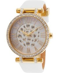 Thierry Mugler Womens White Genuine Leather White Crystal Encrusted Dial - Lyst