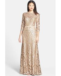 Tadashi Shoji Belted Sequin Lace Gown - Lyst