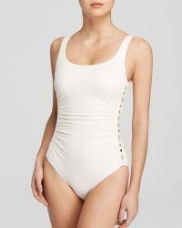 MICHAEL Michael Kors Boho Solids U-Neck Shirred Maillot One Piece Swimsuit - Lyst