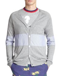 Band of Outsiders Silk & Cashmere Cardigan Sweater gray - Lyst