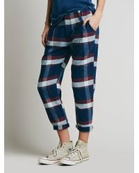 Free People Plaid Relaxed Washed Pant - Lyst