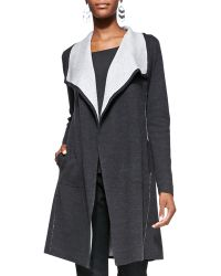 Eileen Fisher Cascading Long Luxe Double-knit Cardigan - Lyst