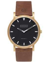 Shore Projects | St Ives Black Dial Light Brown Strap Watch | Lyst