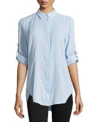Halston Heritage Long-Sleeve Shirttail Hem Shirt - Lyst