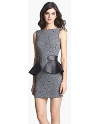 Dress the Population 'Elyssa' Leather Peplum Minidress - Lyst