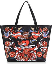 Love Moschino Hearts & Flowers Faux Leather Tote red - Lyst