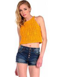 Pima Doll Hand Knit Crop Tank - Lyst