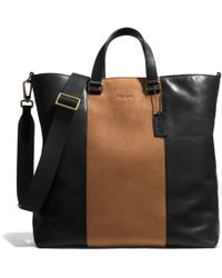 Coach Bleecker Center Stripe Day Tote in Leather black - Lyst