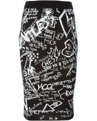 McQ by Alexander McQueen Graffiti Intarsia Pencil Skirt - Lyst
