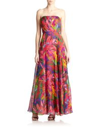 Milly Silk Printed Strapless Gown - Lyst