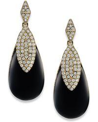Carolee Gold-tone Crystal Black Teardrop Earrings - Lyst