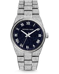 Michael Kors Channing Onyx and Silver-tone Stainless Steel Watch - Lyst
