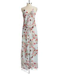 Cynthia Steffe Floral Draped Maxi Dress blue - Lyst