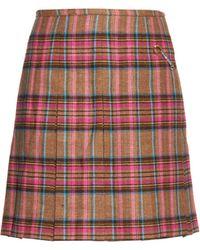 Shrimps - Tartan-check Wool And Linen-blend Mini Skirt - Lyst