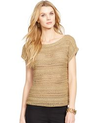 Ralph Lauren Shimmer Short-Sleeved Sweater - Lyst