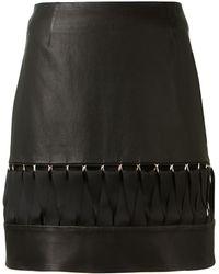 Mugler Black Leather Ribbons Skirt - Lyst